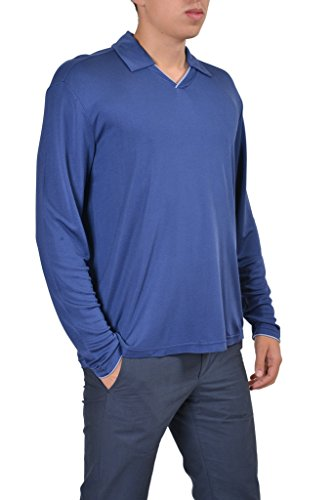 (Armani Collezioni 100% Silk Blue Polo Style V-Neck Men's Sweater US M IT)