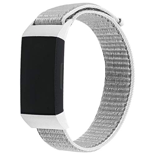 EnjoCho 2019 New Arrival 5 Colors Nylon Bracelet Strap Band Fashion Smart Watch Release Sports Woven Wristband for Fitbit Charge 3,Large Size (Gray)