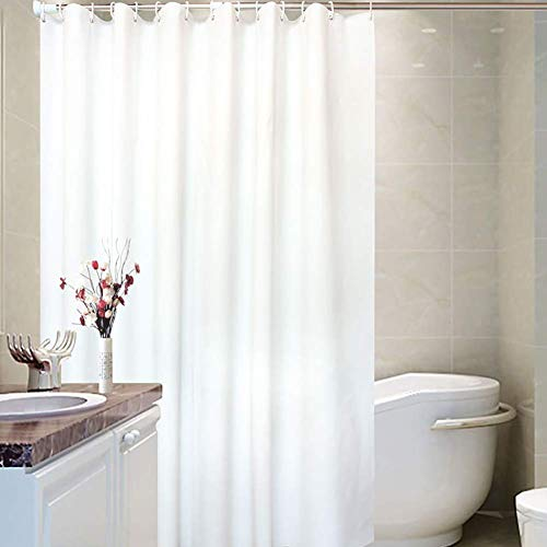 Shower Curtain Liner with Hooks Fabric Odorless Waterproof Washable PEVA Eco Friendly & PVC-Free (White, 72x80inch) (Curtain 80 Shower)