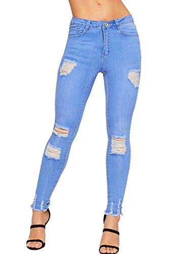 Cheville Dames Stonewashed WEARALL Pantalon Toile Jeans Maigre Afflig Dchirs Jambe Bleu 42 Femmes Jean De 34 qPrzP4