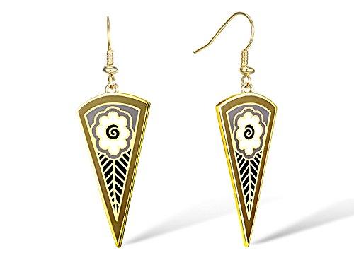 Santuzza Gold Plated Brass Handmade Enamel Flower Pattern Hook Earrings