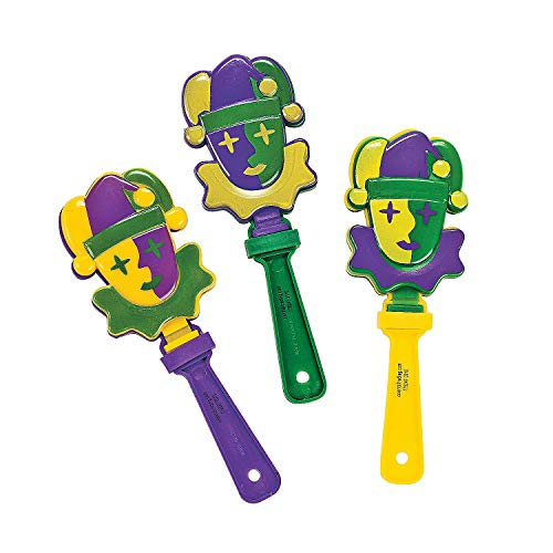 Fun Express - Mardi Gras Jester Hand Clapper for Mardi Gras - Toys - Noisemakers - Hand Clappers - Mardi Gras - 12 Pieces]()