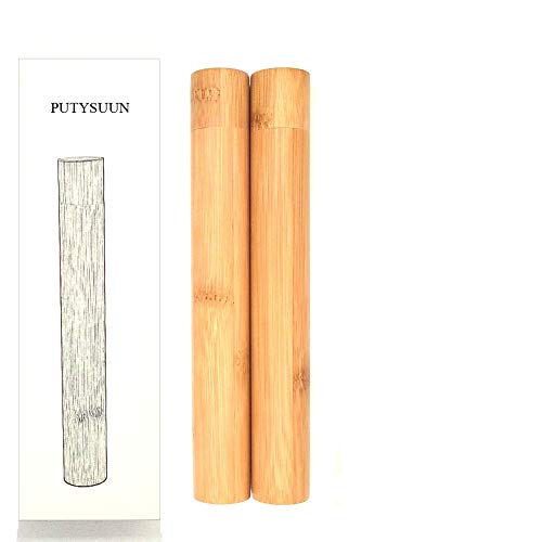 PUTYSUUN Travel Size Natural Bamboo Toothbrush Case, Toothbrush Travel Containers, 2 Pack