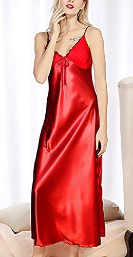 Notte V Di Glamorous Chemise Scollo Da Donna Camicia Pigiama Lunga Estivo Nott Da Eleganti Moda Spaghetti Cinghia Semplice Rosso Luxury Camicie wIEHKKq1