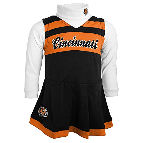 Cincinnati Bengals Cheerleader - NFL Cincinnati Bengals Girls Cheer Jumper Dress with Turtleneck Set, 2T, Black