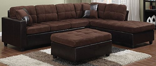 Coaster Home Furnishings  Mallory Modern Biscuit Tufted Reversible Stationary Sectional - Chocolate Microfiber / Dark Brown Faux Leather