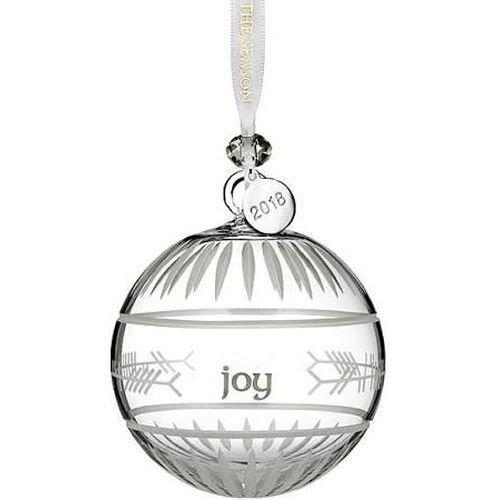 Waterford Crystal 2018 Ogham Joy Ball Ornament 3.7