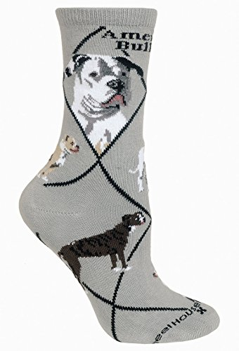 American Bulldog Gray Ultra Lightweight Cotton Crew Socks (Size 9-11)
