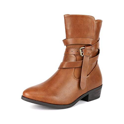 (DREAM PAIRS Women's Jake Camel Side Zipper Low Heel Ankle Bootie Size 8.5 B(M) US)
