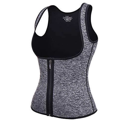 Sweat Waist Trainer for Women Weight Loss Sauna Effect Neoprene Sweat Vest Plus Size (Grey(Zipper Enclosure), Large)
