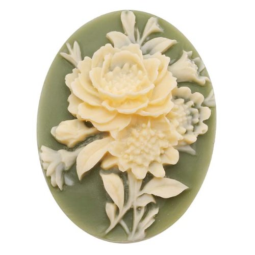 Beadaholique Vintage Style Lucite Oval Cameo Green with Ivory Flowers 40x30mm (1)