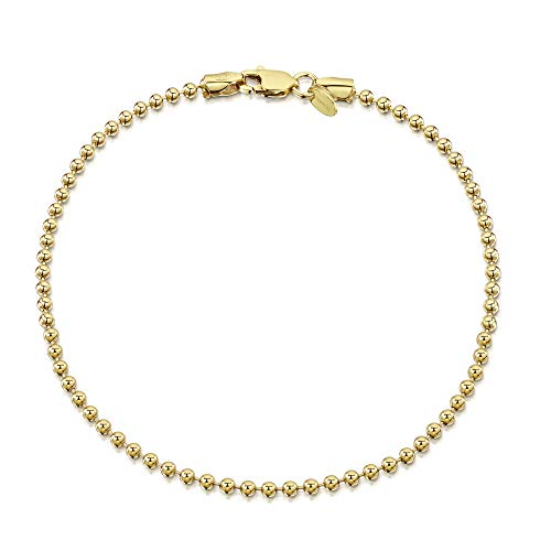 Amberta 18K Gold Plated on 925 Sterling Silver 2 mm Ball Chain Bracelet Length 7.5