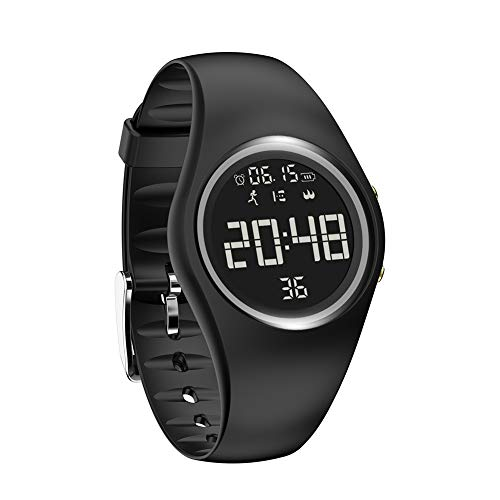 Sports Silicone USB Charge Round Dial Unisex Pedometer Smart Digital Wrist Watch - Black