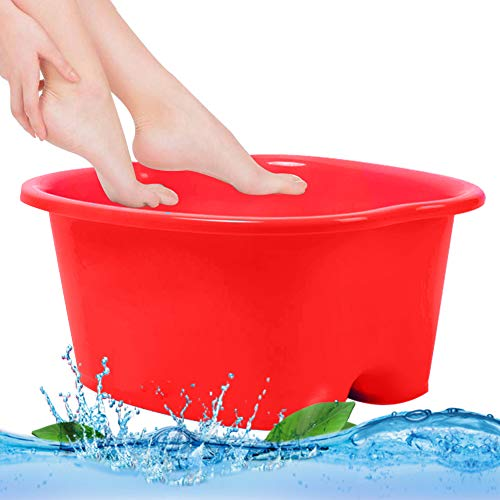 Foot Soaking Bath Basin, Water Spa and Foot Massage, Sturdy Plastic Foot Basin for Soaking Foot,Toe Nails, and Ankles,Pedicure,Portable Foot Tub Red