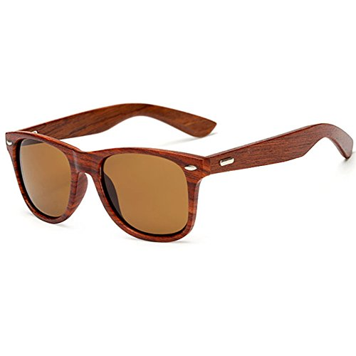 LongKeeper Wood Sunglasses for Men Women Vintage Real Wooden Arms Glasses (Brown, Brown)