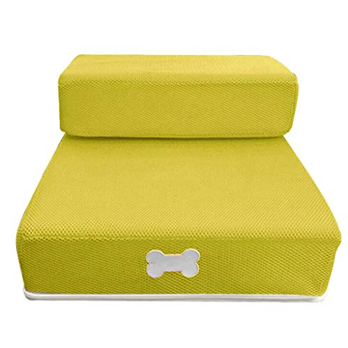 Cookisn New Pet Cat Dog Stairs Breathable Mesh Foldable Stairs Detachable Pet Bed Stairs Dog Ramp 2 Steps L Cama Perro Yellow 67 x39 x 10cm