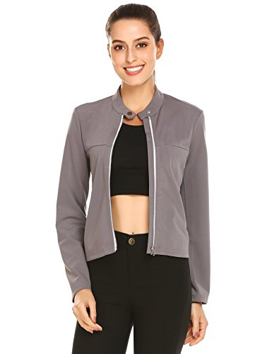 Pinspark Women's Classic Solid Pocketed Biker Jacket Zip Up Fashion Jacket (Cropped Bomber)