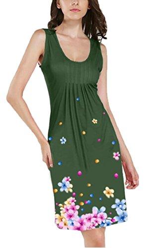Vestito Floreale Verde Jaycargogo Maniche Donne Stampa Mini Girocollo Delle Casuale RFP5qHPw