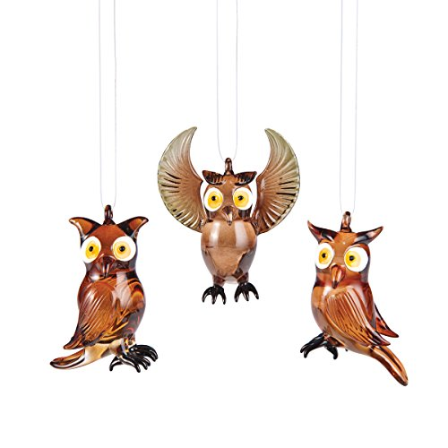 Owl Glass Ornament, Assorted of 3