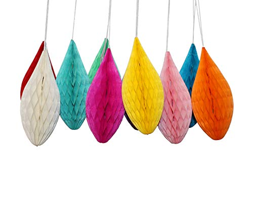 LG-Free 10Pcs DIY Handmade 6 inch Mini Colorful Paper Honeycomb Drop Shaped Party Decorations Easter Honeycomb Eggs Hanging Wall Decoration Flower Balls Pom Poms for Wedding Birthday (Colorful Eggs)