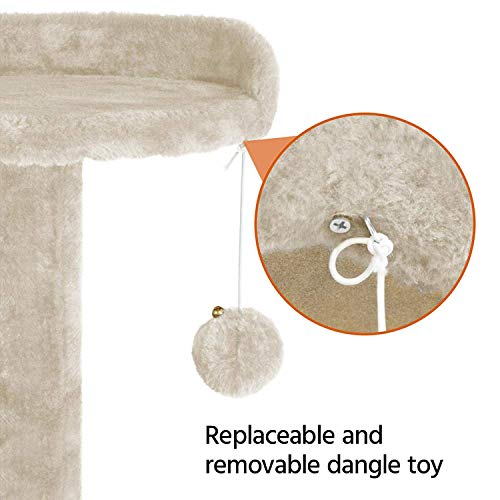 Callas Cat Tree with 2 Bed Cubes, 4 Platforms, Rope and Scratching Post (52 Inches; Beige)