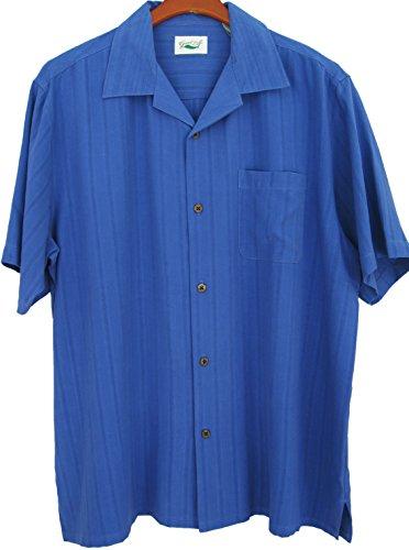 Good-Life-Mens-Silk-Camp-Shirt-Solid-Textured-Casual-Short-Sleeved