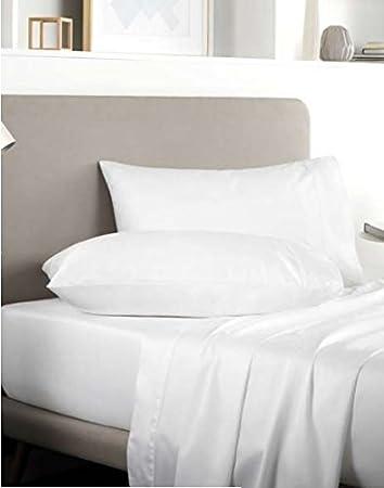 Rayyan Linen - Sábana bajera ajustable (100% algodón egipcio satinado, 400 hilos, 1,2 m), color blanco: Amazon.es: Hogar