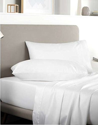 RAYYAN LINEN'S 100% SATIN EGYPTIAN COTTON 400 THREAD COUNT FITTED SHEET DOUBLE SIZE WHITE 9