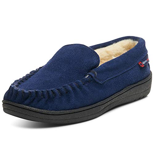 - alpine swiss Yukon Mens Suede Shearling Slip On Moccasin Slippers Navy 11 M US