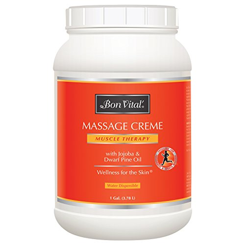 Bon Vital Muscle Therapy Massage Crème, Professional Massage Cream with Dwarf Pine Oil & Essential Oils for Relaxation & Sore Muscle Relief, Deep Tissue & Sports Massage Techniques, 1 Gallon Jar - Muscle Relaxation Therapy