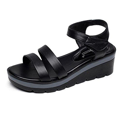 KJJDE Fondo Exquisito Chanclas Velcro Sandalias De De Verano Cuña Sandalias 8005 QNML De Plano Mujer black Moda Y Transpirable BBP0Tr