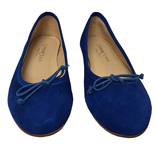 Cm Valeria Foderata Pelle Made Donna Italy 1 In Ballerina Upper Class 100 Mod Tacco Camoscio Cotone Bluette Tessuto q1PWAwX