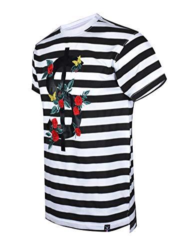 SCREENSHOTBRAND-S11903 Mens Hipster Hip-Hop Premium Tee - Luxury Longline Dollar Sign Flower Print T-Shirt-White-XLarge
