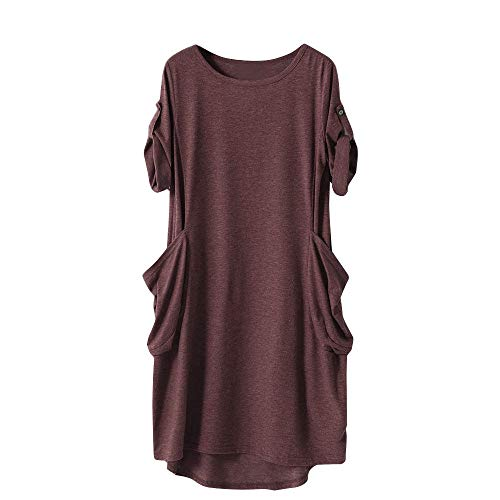 Blouse Tunic T Pocket Batwing Women Gray Casual Coffee Top Loose Coffee Short Navy Sleeve Baggy XOWRTE Shirt qnEXWP