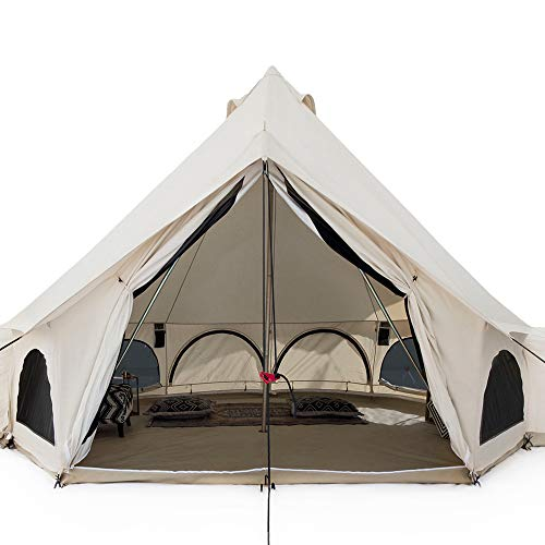 White Duck Outdoors Premium Luxury Avalon Canvas Bell Tent with Stove Jack, Bug mesh for All Season Camping and Glamping (5M (16'5