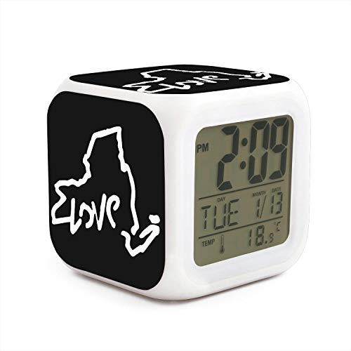 DHBVNMQHHT Alarm Clock Wake Up Bedroom with Data and Temperature Display (Changable Color) Size L8cm x W8cm xH8cm Love New York State Flag Map