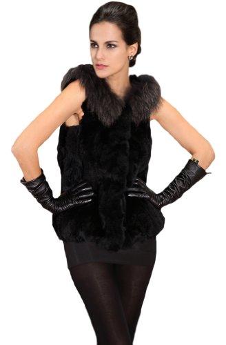 Queenshiny Women's 100% Real Genuine Rex Rabbit Fur Vest ...