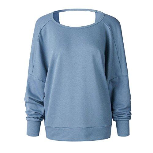 Spbamboo Women Casual Backless Shirt Long Sleeve Sweatshirt Pullovers Top Blouse by Spbamboo