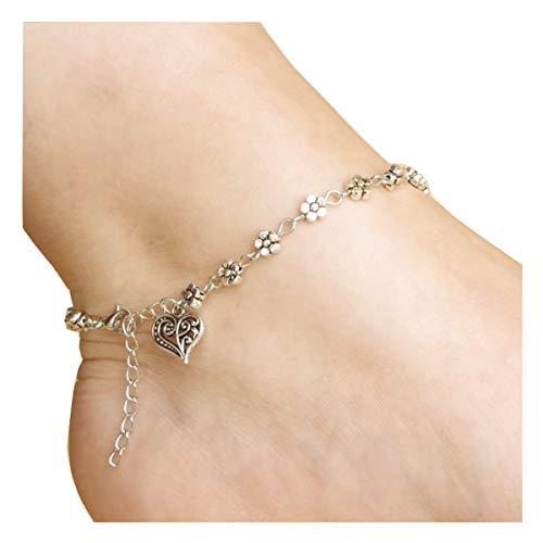 Zealmer Boho Vintage Barefoot Heart Ankle Bracelet Flower Feet Chain Jewelry Silver Anklet