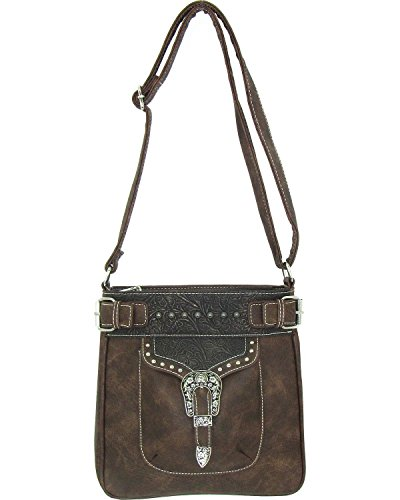 (Savana Women's Faux Leather Tote Messenger Bag Brown One Size)
