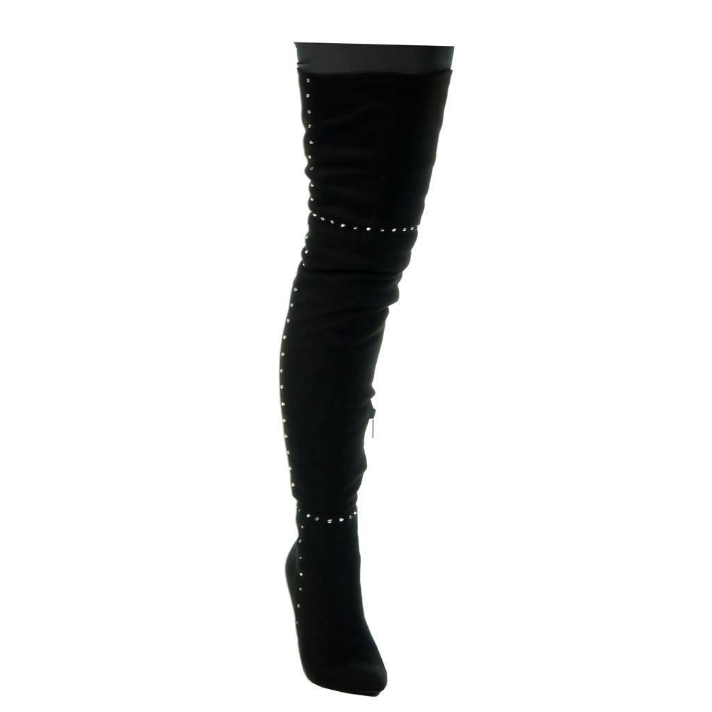 Angkorly - Damen Schuhe Schuhe Schuhe Oberschenkel-Stiefel - Stiletto - Sexy - Reitstiefel - Kavalier - Nieten - besetzt Stiletto high Heel 11 cm dec626