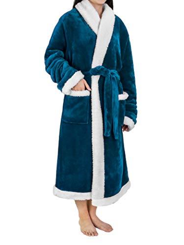 Caravan Blue Apparel - Premium Women's Sherpa Fleece Robe | Luxurious Soft, Warm, Plush Bathrobe