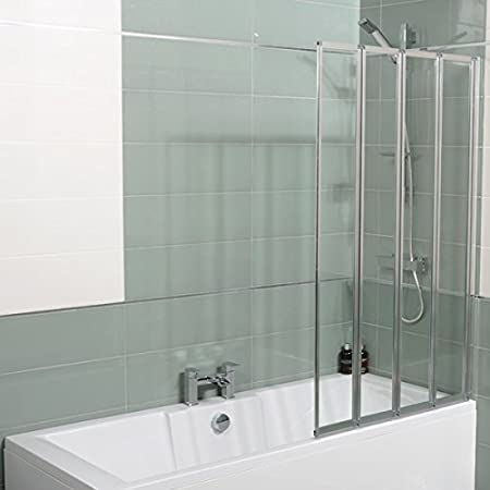 4 Fold Bath Screen Glass Shower Tub Folding Door with Rubber Seal ...