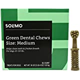 Amazon Brand - Solimo Green Dental Chews Dog Treats, Medium Size, 36 Count