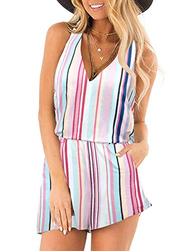 Womens Casual Summer One Piece Sleeveless Snake Printed Tank Top Playsuits Rainbow Striped Short Jumpsuit Beach Rompers Colorful Striped Large ()