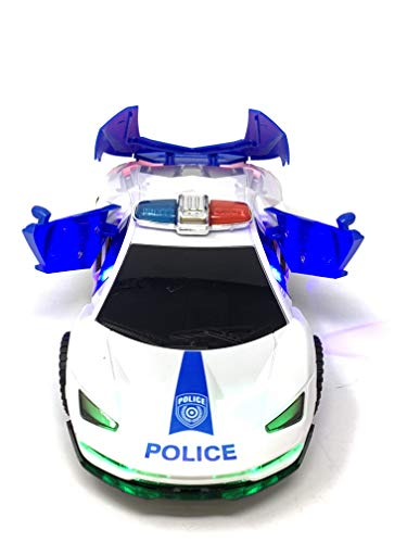 JOYSAE Electric Automatic Deformation Lifting 360 Degree Rotating Speed car Light Music Universal Wheel Police Car with LED and Sound Effects by, 8.5