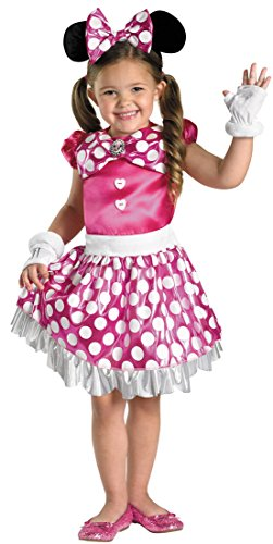 [Disguise Disney Mickey Mouse Clubhouse Pink Minnie Shimmer Girls Costume, Medium/7-8] (Minnie Mouse Ears Halloween Costume)