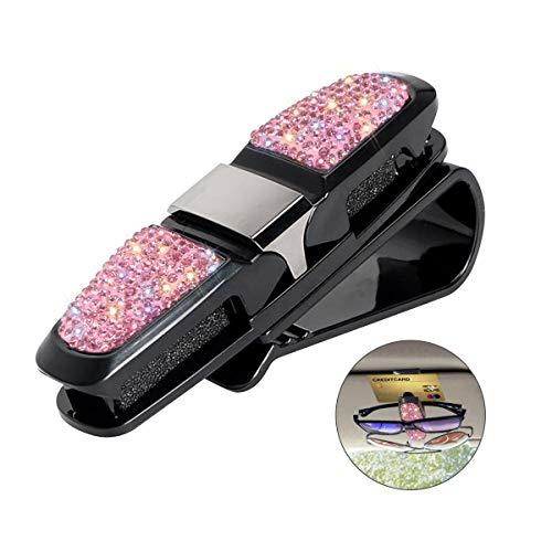 Glasses Holder for Car Visor,Fashion Bling Crystal Rhinestones Car Sun Visor Glasses with Double-Ended Ticket Clip Holder Accessories (Pink)