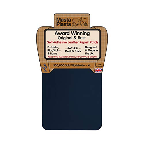 (MastaPlasta Self-Adhesive Patch for Leather and Vinyl Repair, XL Plain, Navy - 8 x 11 Inch - Multiple Colors Available)