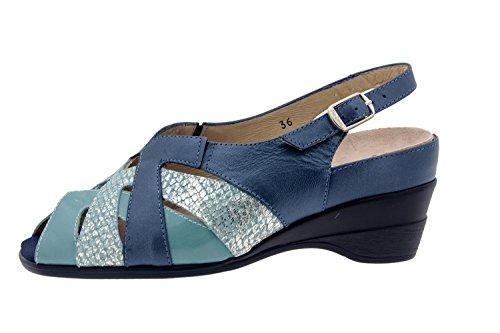 Calzado mujer confort de piel Piesanto 4153 sandalia plantilla extraíble zapato cómodo ancho Marino